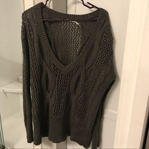 Cute Slouchy Deep V Gray Sweater